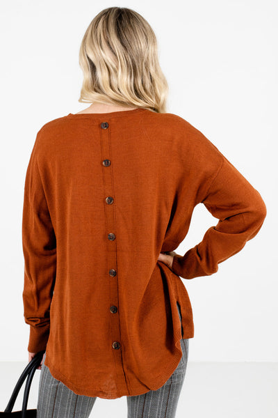 Rust Orange Decorative Button Boutique Sweaters for Women