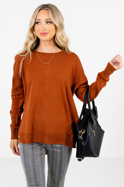 Women's Rust Orange Split High-Low Hem Boutique Sweater