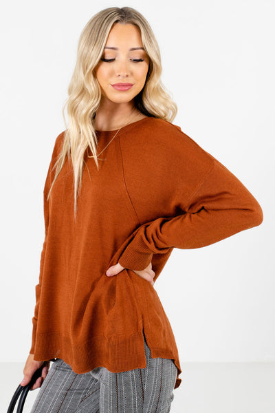 Rust Orange Lightweight Knit Material Boutique Sweaters for Women