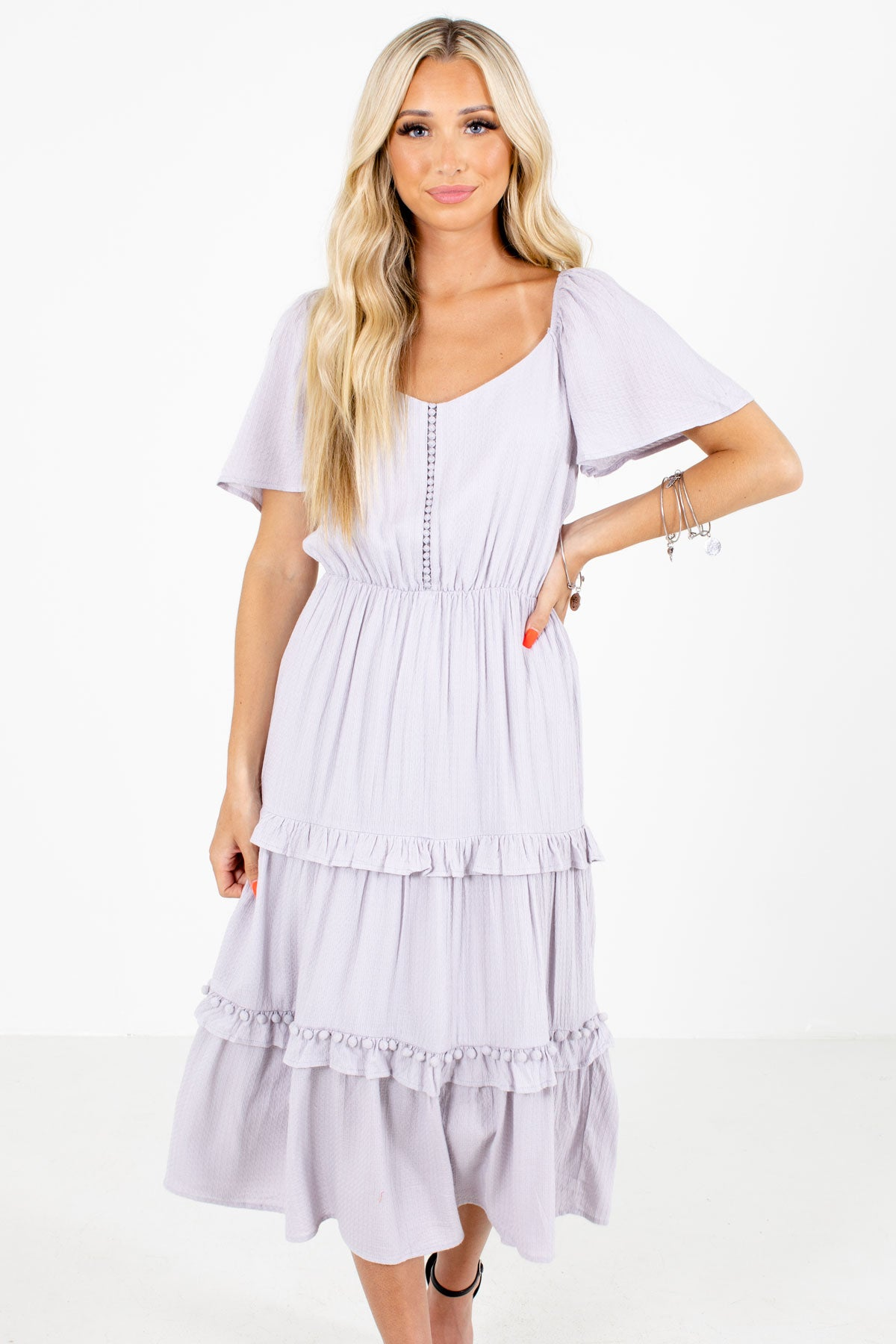 Purple Ruffled Accented Boutique Midi Dresses for Women