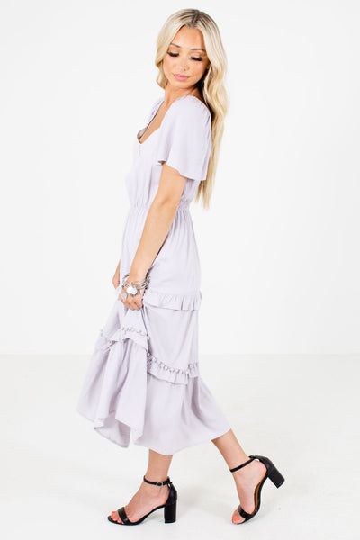 Purple Partially Lined Boutique Midi Dresses for Women