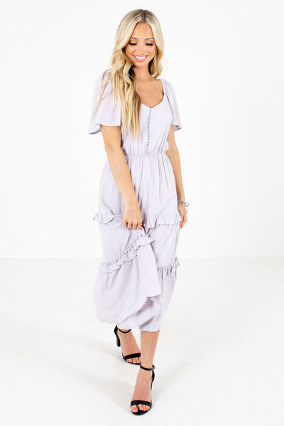 Purple Cute and Comfortable Boutqiue Midi Dresses for Women
