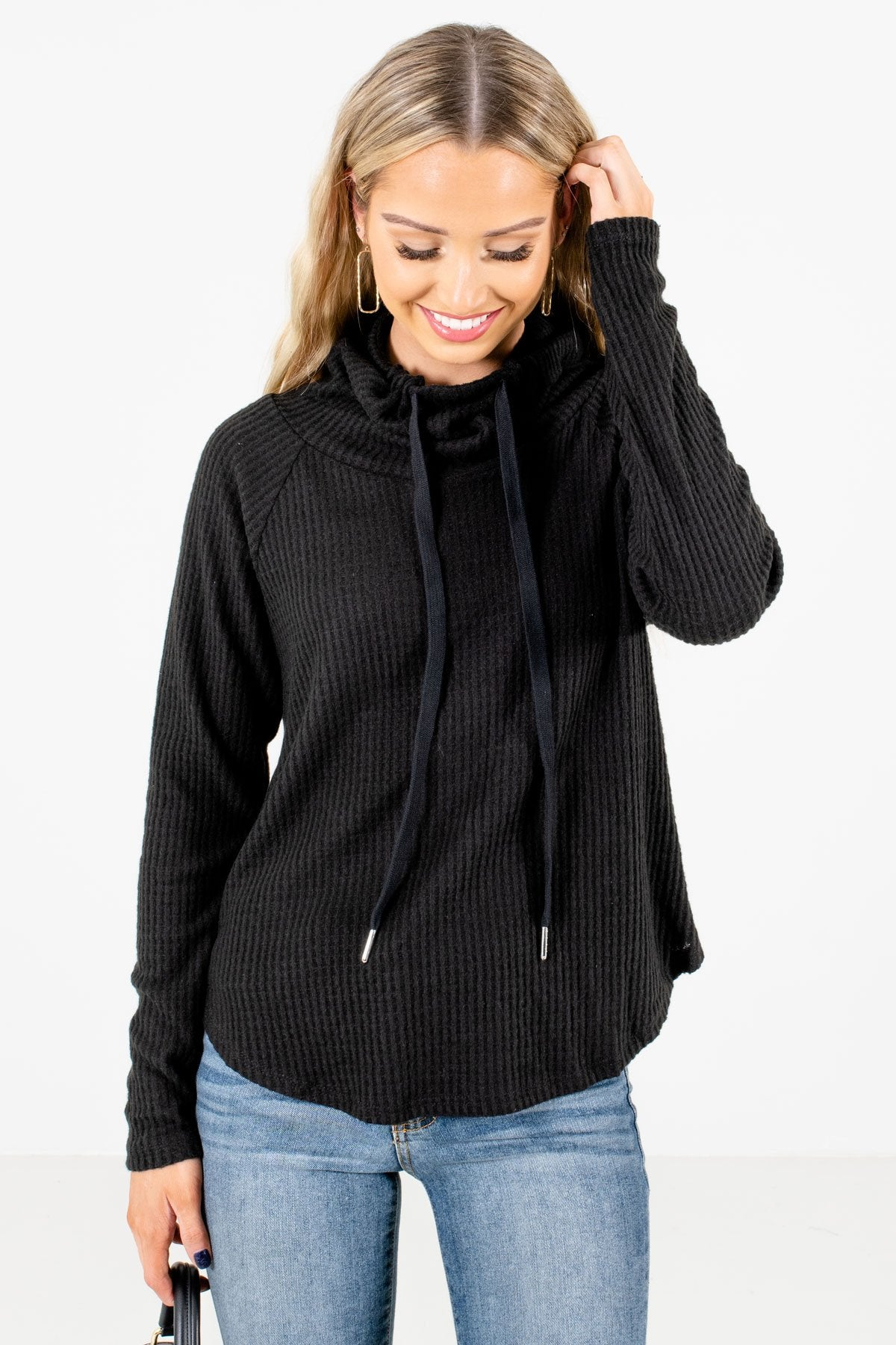 Black High-Quality Waffle Knit Material Boutique Sweaters for Women