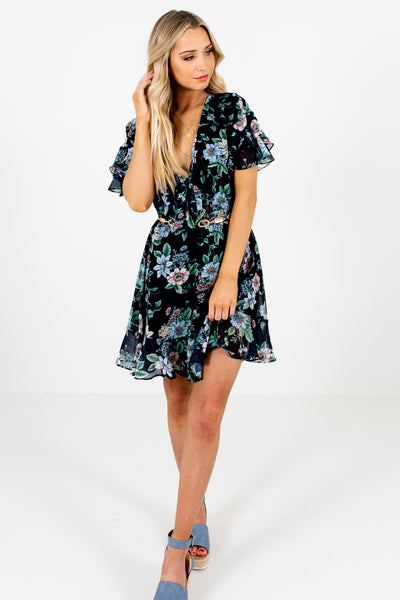 Navy Blue Multi Color Floral Print Ruffle Mini Dresses for Women