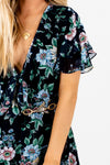 Navy Blue Coral Green Yellow Floral Print Ruffle Tie-Front Mini Dresses