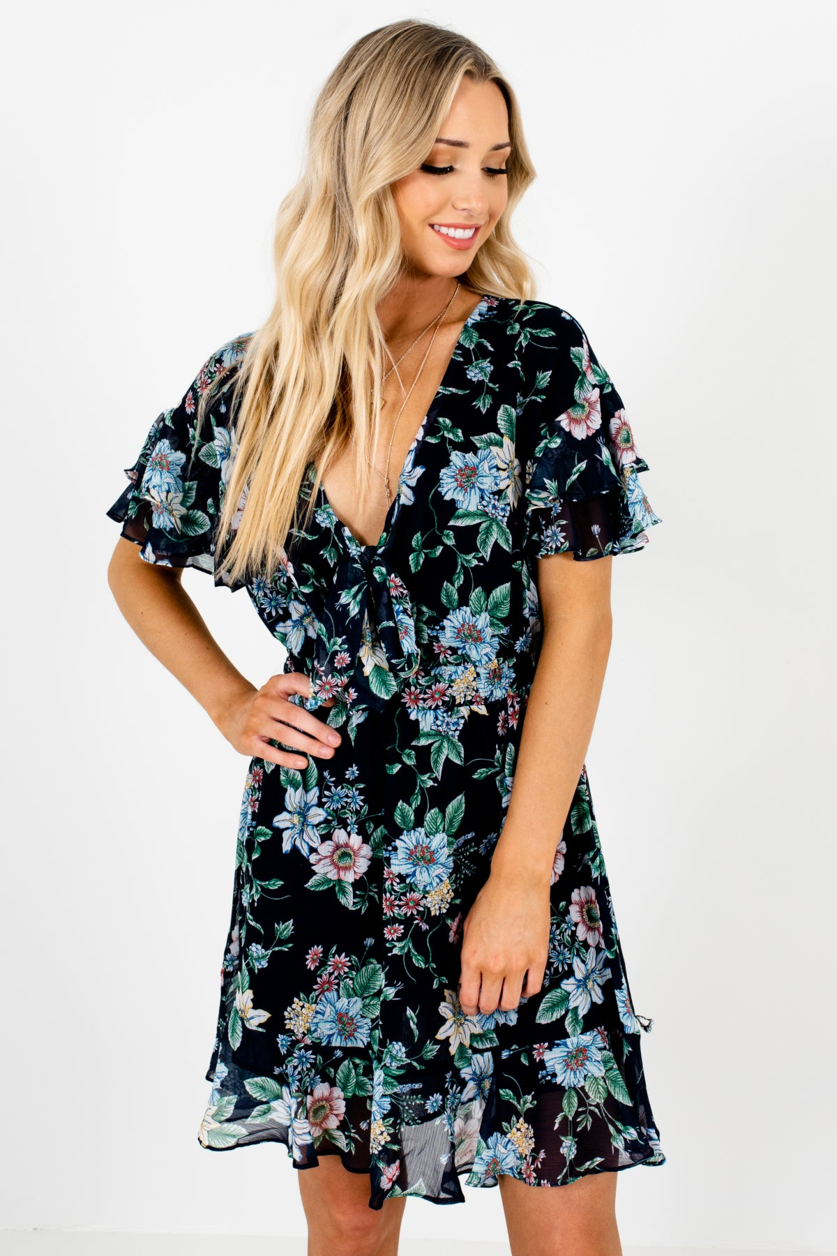 Navy Blue Multicolored Floral Print Mini Dresses with Tie-Front Cutout Detail