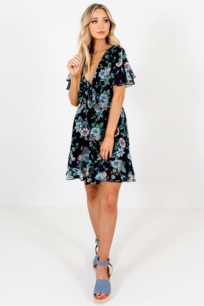 Navy Blue Floral Tie-Front Cutout Ruffle Mini Dresses for Women