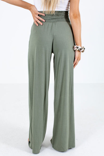 Women's Green Boutique Pants with Pockets