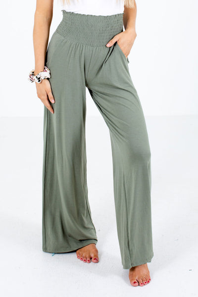 Green Smocked Waistband Boutique Pants for Women