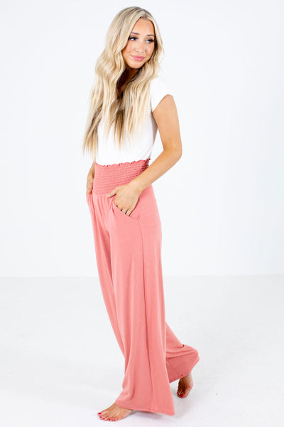 Pink Flowy Silhouette Boutique Pants for Women