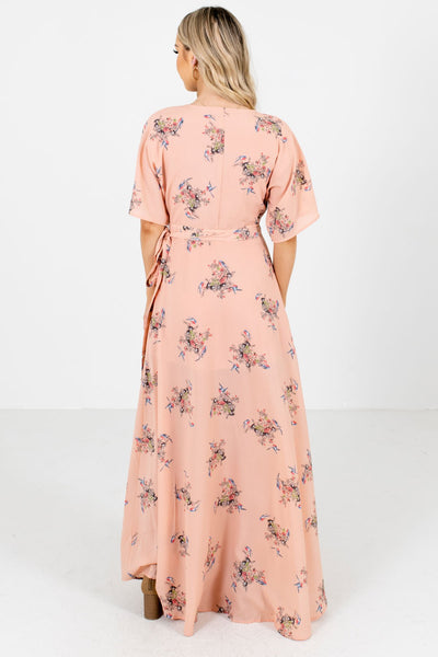 Women's Peach Pink Wrap Style Boutique Maxi Dresses
