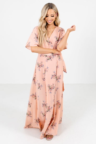 Women's Peach Pink Flowy Silhouette Boutique Maxi Dress