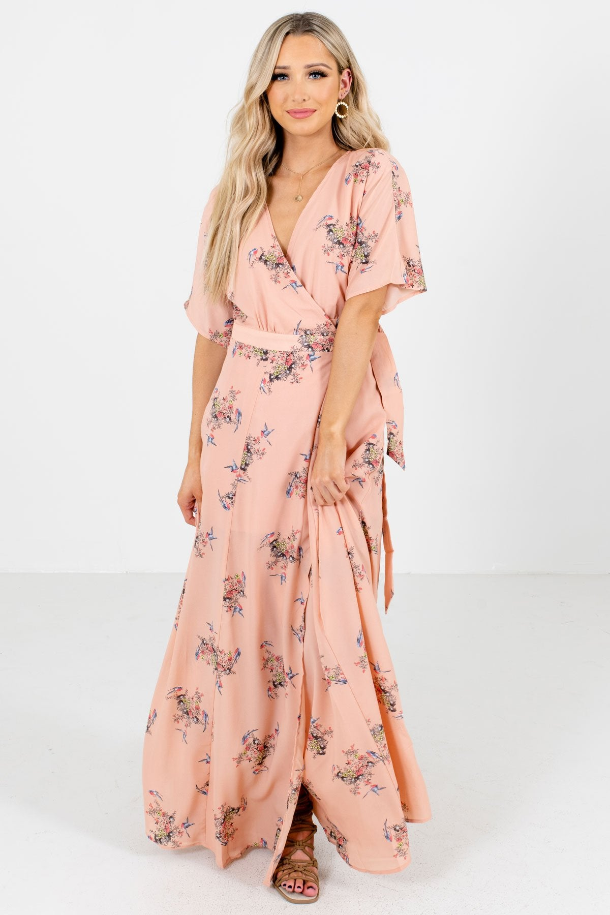 Peach Pink Floral Patterned Boutique Maxi Dresses for Women