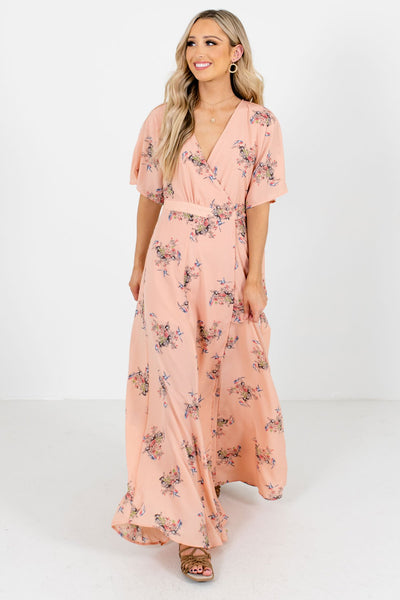 Women's Peach Pink Date Night Boutique Maxi Dress