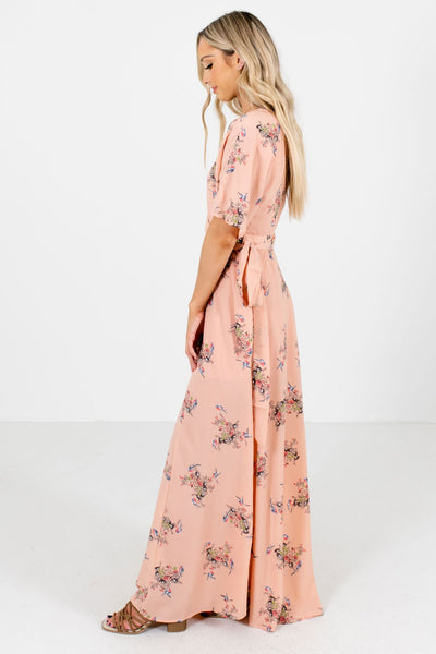 Peach Pink Bird Patterned Boutique Maxi Dresses for Women