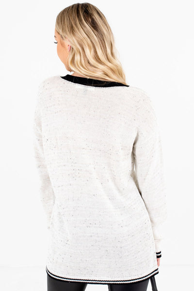 Women's Cream Lightweight Knit Material Boutique Sweater
