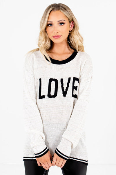 "Cream and Black ""Love"" Lettering Boutique Sweaters for Women"