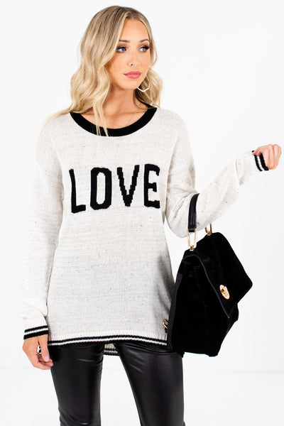 Women's Cream and Black Speckled Material Boutique Sweater