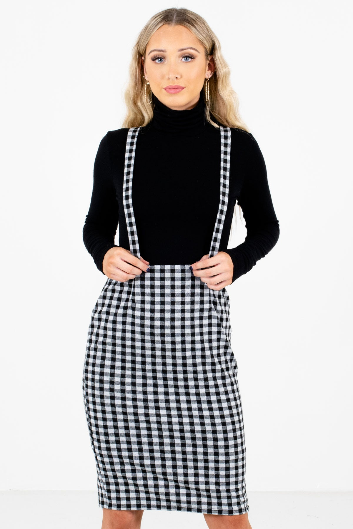 Gray and Black Gingham Pattern Boutique Knee-Length Skirts for Women
