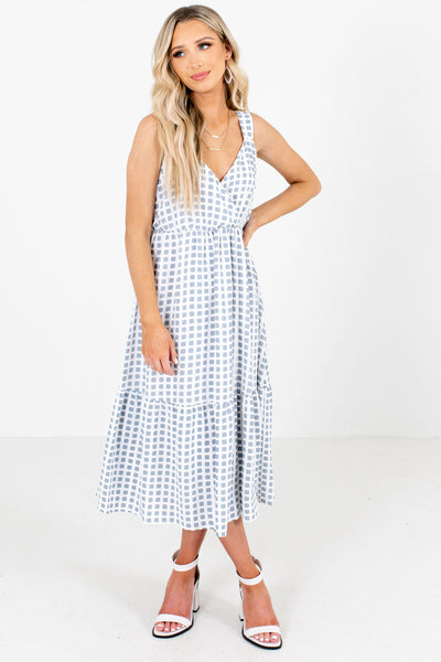 White and Blue Square Patterned Boutique Midi Dresses for Women