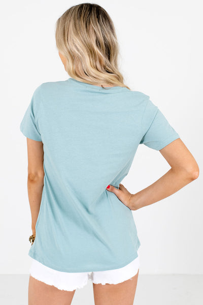 Women's Blue Round Neckline Boutique Graphic T-Shirts