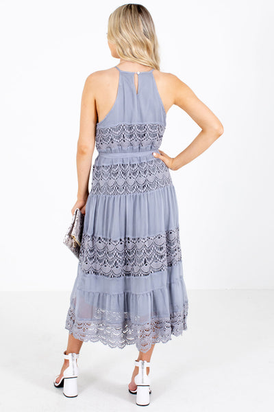 Women's Gray Keyhole Back Boutique Midi Dress