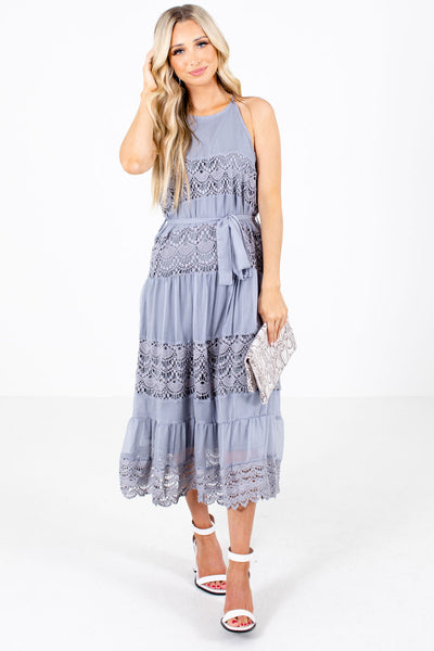 Slate Gray Crochet Lace Detailed Boutique Midi Dresses for Women