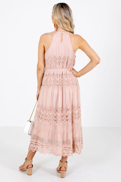 Women's Pink Partially Lined Boutique Midi Dress