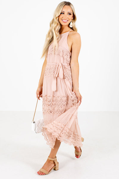 Women's Pink Date Night Boutique Midi Dress