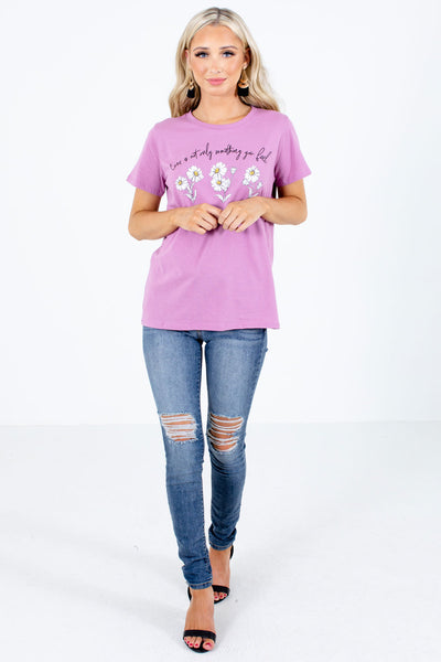 Purple Cute and Comfortable Boutique Graphic T-Shirts for Women