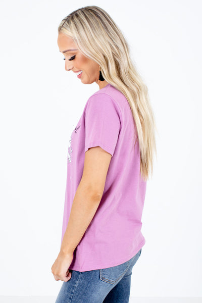Purple Stretchy Boutique Graphic T-Shirts for Women