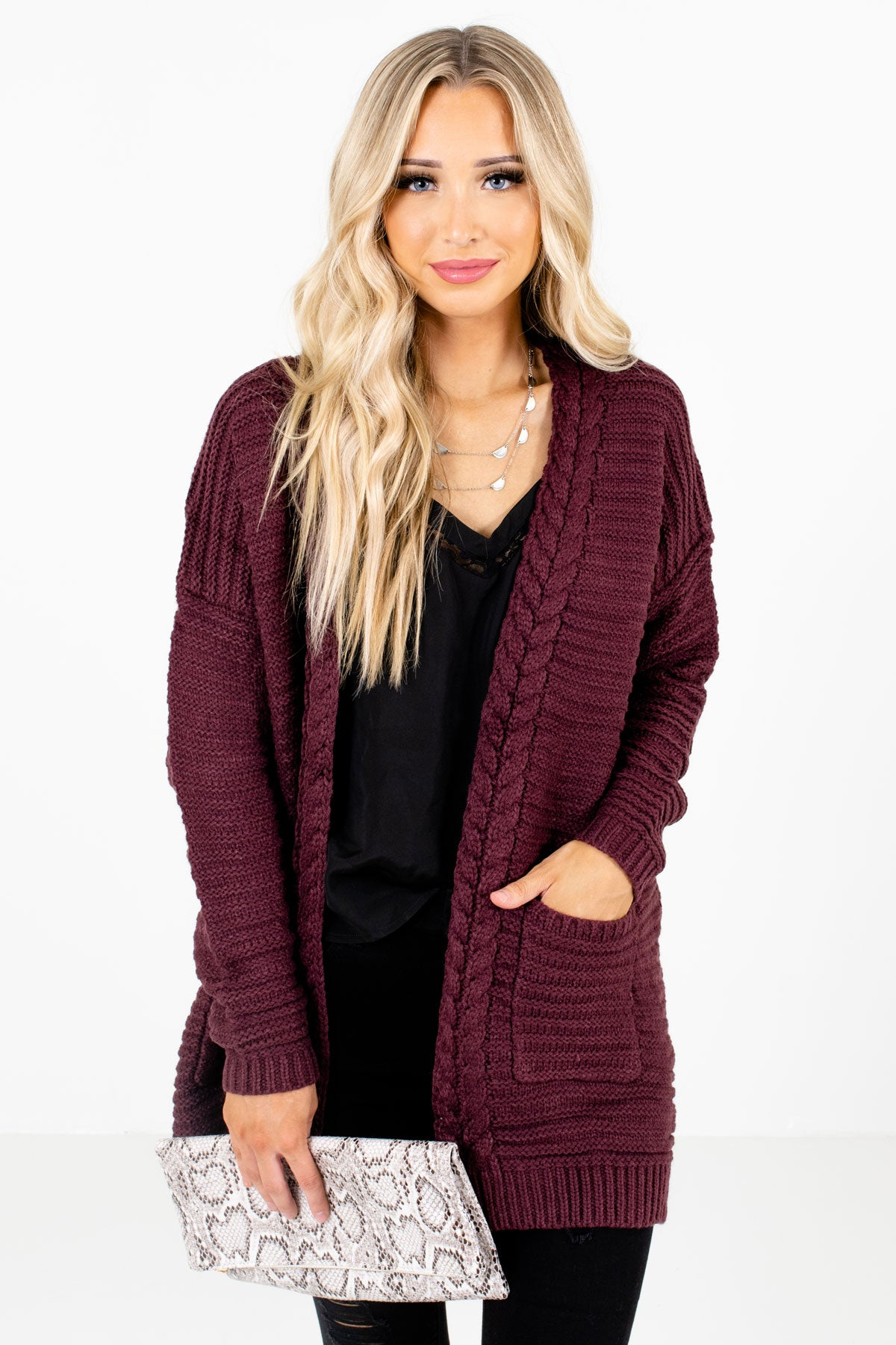 Purple High-Quality Knit Material Boutique Cardigans for Women