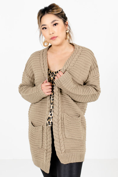 Women's Taupe Brown Warm and Cozy Boutique Cardigans