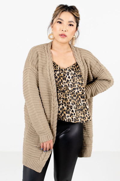 Women's Taupe Brown Layering Boutique Cardigans