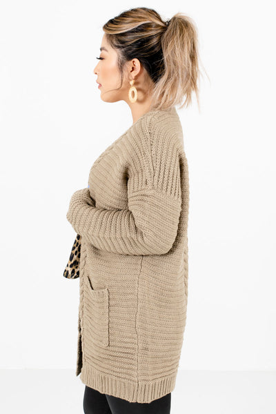 Taupe Brown Long Sleeve Boutique Cardigan for Women