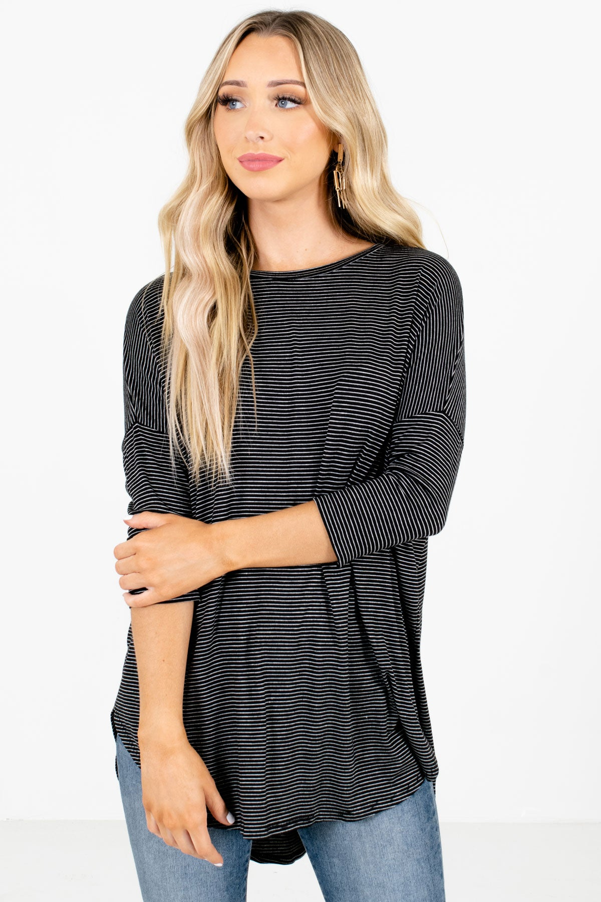 Black and White Striped Boutique Tops for Women