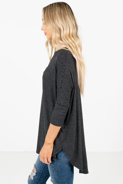Black Round Neckline Boutique Tops for Women