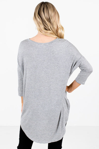 Women's Gray ¾ Length Sleeve Boutique Tops