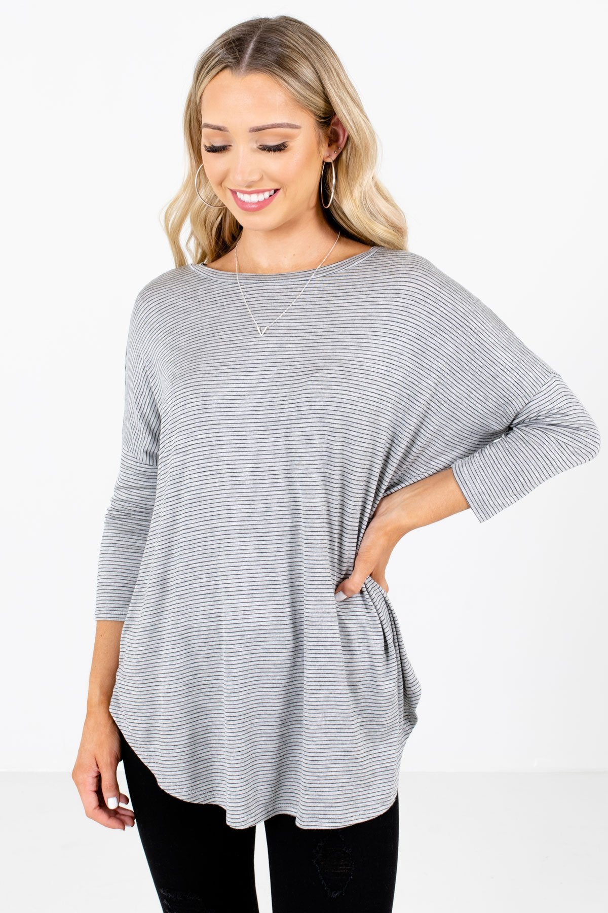 Black and Gray Striped Boutique Tops for Women