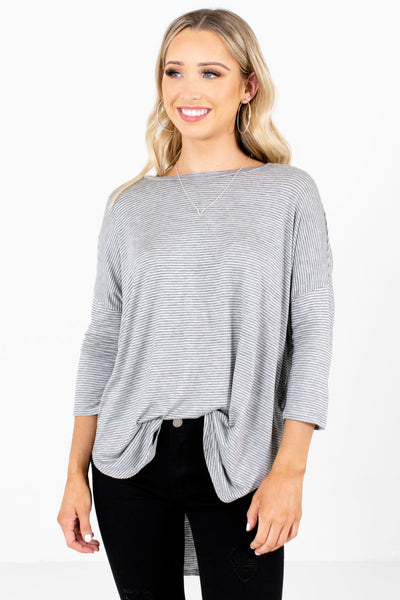 Women's Gray High-Low Hem Boutique Tops