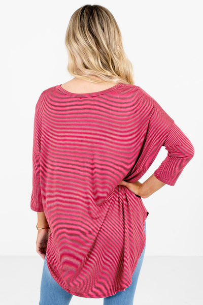 Women's Red ¾ Length Sleeve Boutique Tops