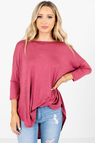 Red and White Striped Boutique Tops for Women