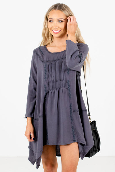 Women's Charcoal Gray Pleated Boutique Mini Dresses