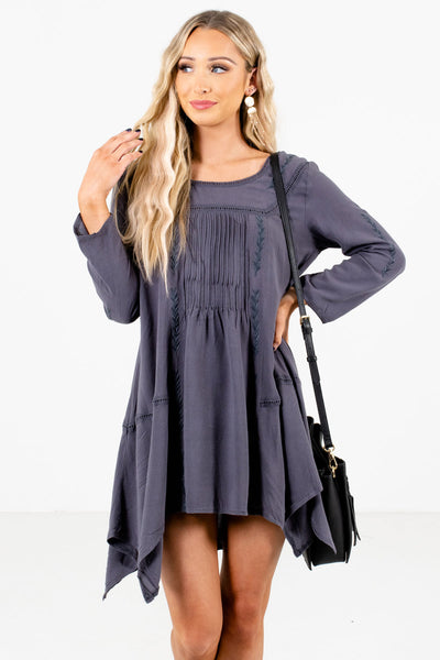 Charcoal Gray Ladder Lace Detailed Boutique Mini Dresses for Women