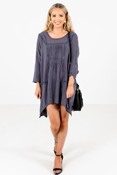 Charcoal Gray Cute and Comfortable Boutique Mini Dresses for Women
