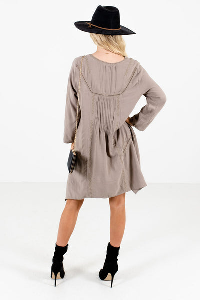 Women's Taupe Brown Asymmetrical Hem Boutique Mini Dress