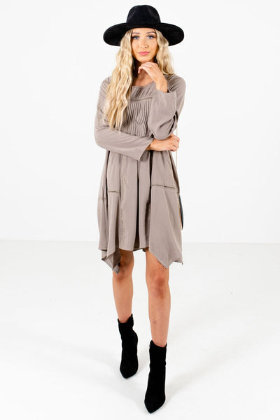 Women's Taupe Brown Bohemian Style Boutique Mini Dress