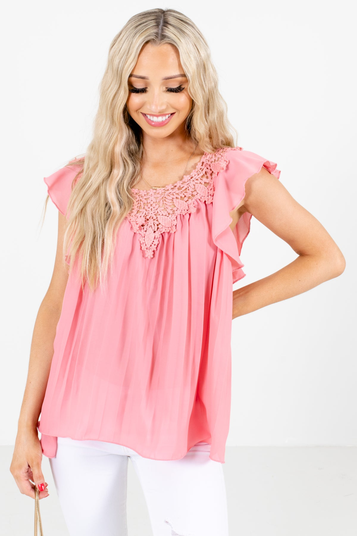 Pink Lightweight Pleated Material Boutique Blouses for Women