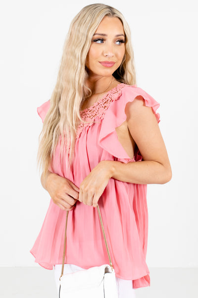 Pink Flutter Sleeve Style Boutique Blouses for Women