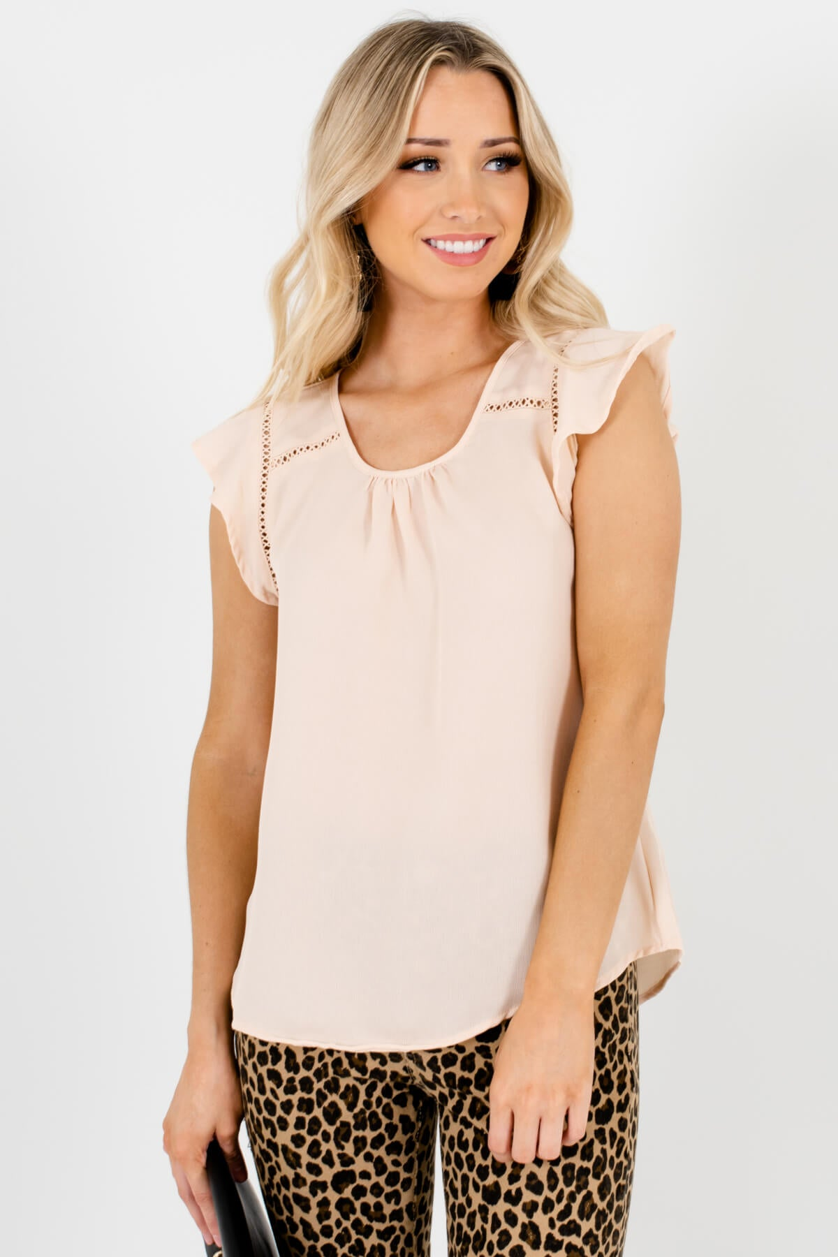 Peachy Beige Crochet Detailed Boutique Blouses for Women